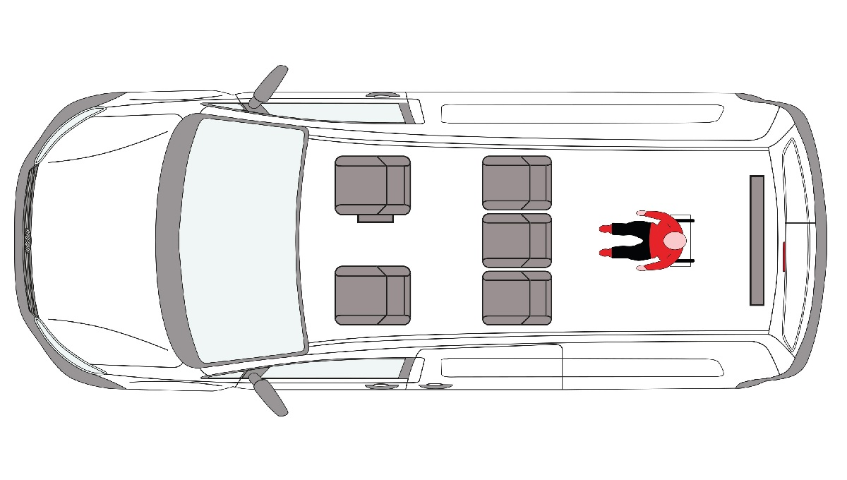 Seating layout of the Ford Grand Tourneo Connect WAV
