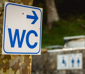 White WC sign attached to a tree