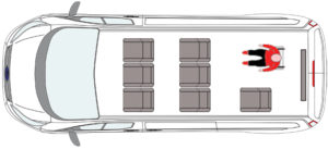 Seat layout for Ford Transit Custom WAV