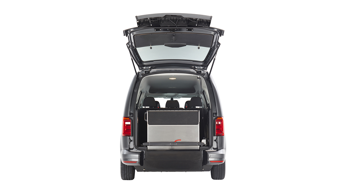 Folded ramp on the VW Caddy WAV from Cartwright Mobility