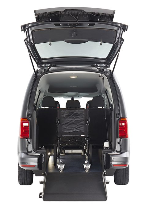 Manual folding ramp on the VW Caddy WAV
